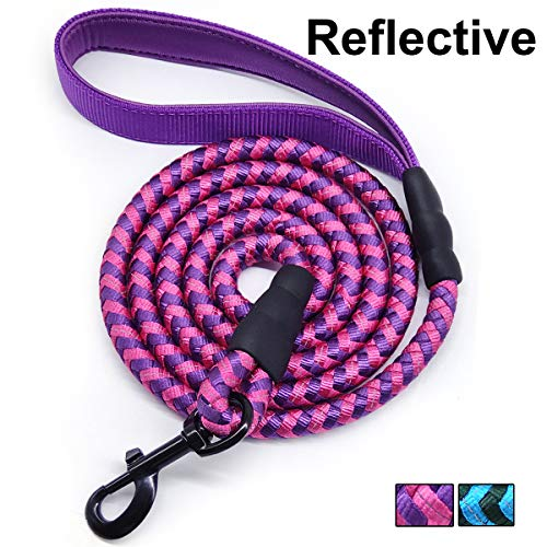 Mycicy 6FT Strong Dog Leash Rope Dog Leash Highly Reflective Threads with Soft Padded Handle for Small Medium Large Dogs
