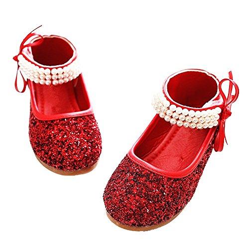 YING LAN Girl Round-Toe Sparkle Bowknot Ballet Ballerina Flat Princess Wedding Shoes Mary Janes (8.5 M US Toddler, Red)