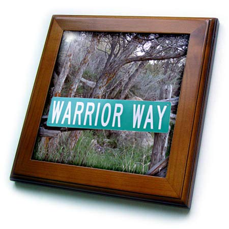 3dRose Jos Fauxtographee- Warrior Way - A Sign That says Warrior Way in Green Near a Forest - 8x8 Framed Tile (ft_319014_1)