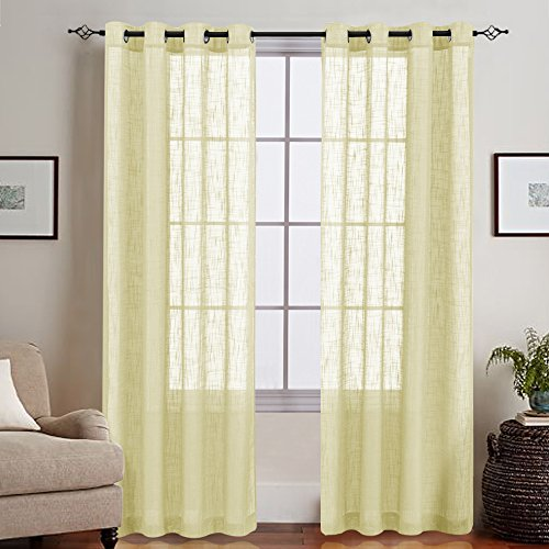 Sheer Curtains for Living Room Linen Like Open Weave Grommet Top Window Treatments for Bedroom Curtains 2 Panels 55
