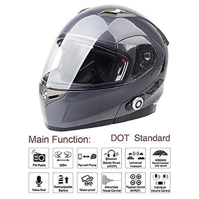 FreedConn Bluetooth Motorcycle Helmets Speakers Integrated Modular Flip up Dual Visors Full Face Built-in Bluetooth Mp3 Intercom Headset Communication Range 500M (L,Gray): Sports & Outdoors