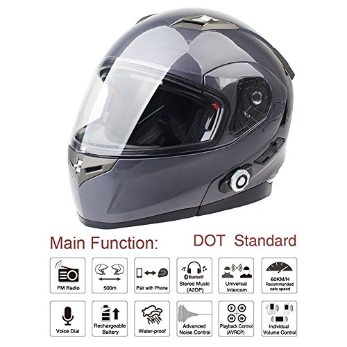 FreedConn Bluetooth Motorcycle Helmets Speakers Integrated Modular Flip up Dual Visors Full Face Built-in Bluetooth Mp3 Intercom headset Communication Range 500M (XL,Gray)