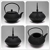 TOWA Workshop Japanese Tetsubin Pot Cast Iron Teapot Black Japan Tea Kettle Shaped Hobnail Metal Bottle Sets with Enamel and Stainless Steel Infuser,0.8L