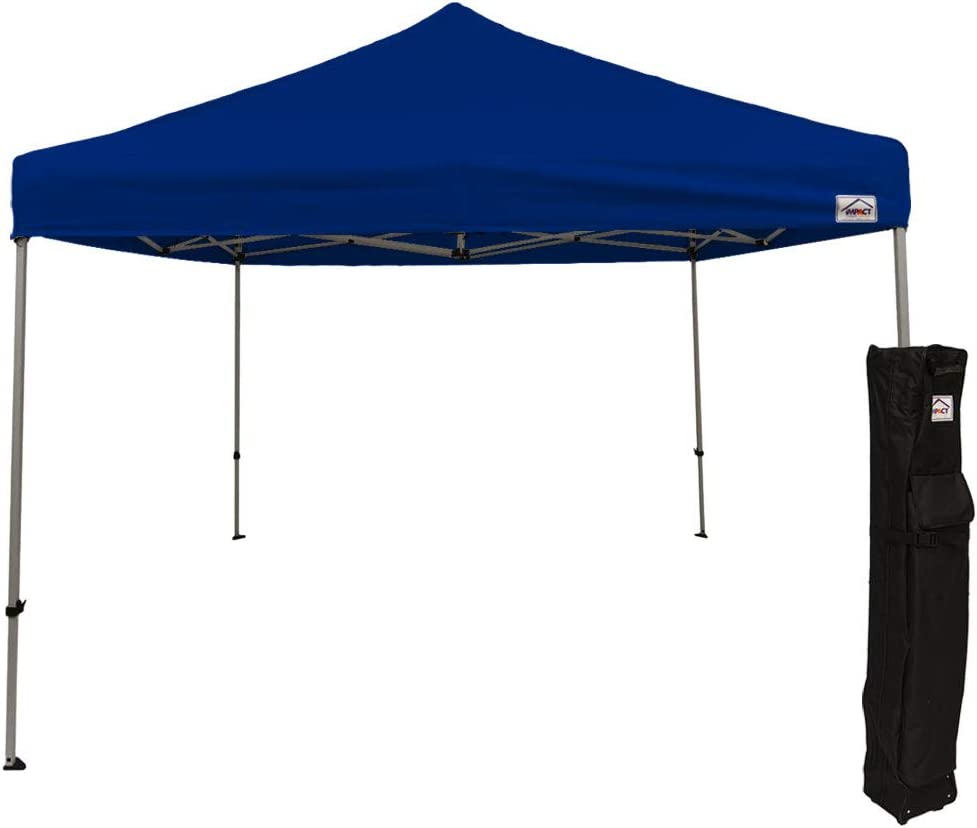 Impact Canopy 10 x 10 Pop Up Canopy Tent, Straight Leg Shelter, Steel Frame, Roller Bag, Blue