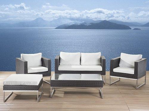 Rattan Gartenmöbel Cindy Farbe braun + weiß 14 teiliges Komplett ...
