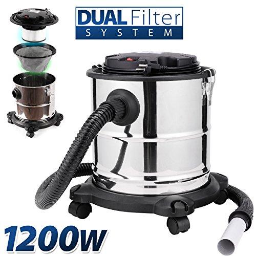 Aschesauger 20L Kaminsauger 1200W DUAL Filter System mit 4 Rollen Sellnet SN121