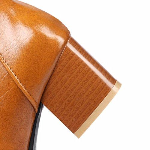 yellow Cabeza y botas de dama Martin botas amarre Invierno gran invierno puntiaguda frontal x7TT6