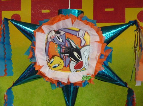 PINATA Looney Tunes Tweety Bird Sylvester The Cat (Classic)/ Piñata Hand Crafted 26'x26'x12'[Holds 2-3 Lb. Of Candy][For Any Occasion