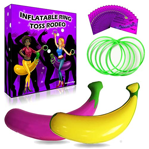 Viribus Bachelorette Party Games Bundle Inflatable Ring Toss Rodeo Game | 20 Drink If and Scratch Off Dare Cards | for Girls Night Out, Bride to Be and Bridal Shower Gifts