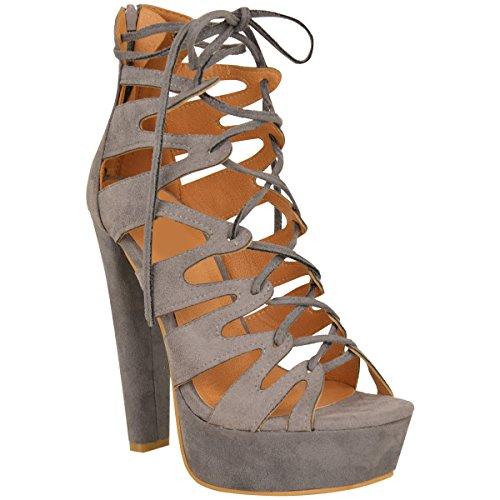 Fashion Thirsty Womens High Heel Platform Gladiator Sandals Lace Up Ankle Shoes Size 7