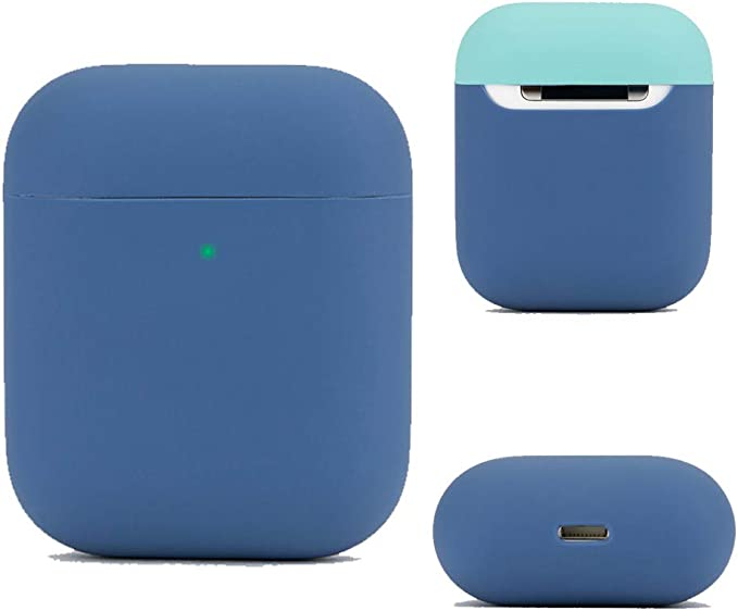 DamonLight Funda de Silicona para Auriculares Airpods Funda de Silicona para Auriculares inalámbricos Apple(Protección Completa) Azul Marino: Amazon.es: Electrónica