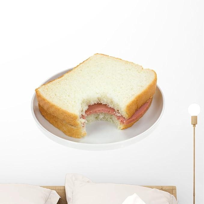 Wallmonkeys Bitten Baloney Sandwich on White Bread Wall Decal Peel and Stick Graphic WM97567 (24 in W x 18 in H)
