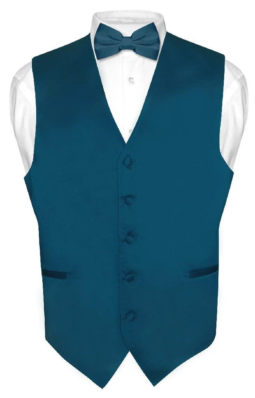Men's Dress Vest & BowTie Solid BLUE SAPPHIRE Color Bow Tie Set for Suit or Tux
