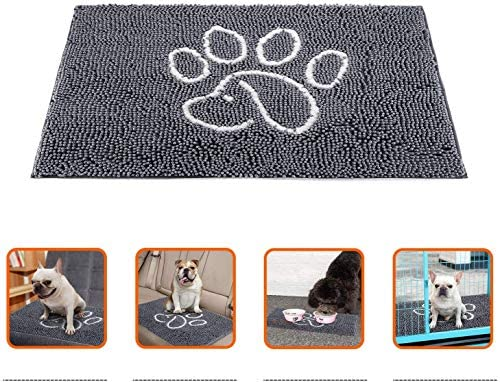 YOH Durable Chenille Doormat Super Absorbent Dog Paw Rug Non-Skid Door Mat Machine Washable Inside Outdoor Large Area Rug for Entry, Mud Room Mat, High Traffic Areas, 48×30 inch, Grey