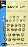 DRITZ-Sew-On Snaps. This package contains thirty-six sets nickel plated brass snaps: twelve of each: 1/0, 2/0 & 4/0. Imported.