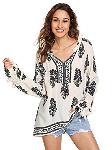 (Floerns Women's Long Sleeve Casual Tunic Blouse Boho Print Loose Shirt Tops Beige M)