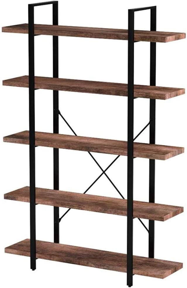 SUPERJARE 5-Shelf Industrial Bookshelf, Open Etagere Bookcase with Metal Frame, Rustic Book Shelf, Storage Display Shelves, Wood Grain - Retro Brown