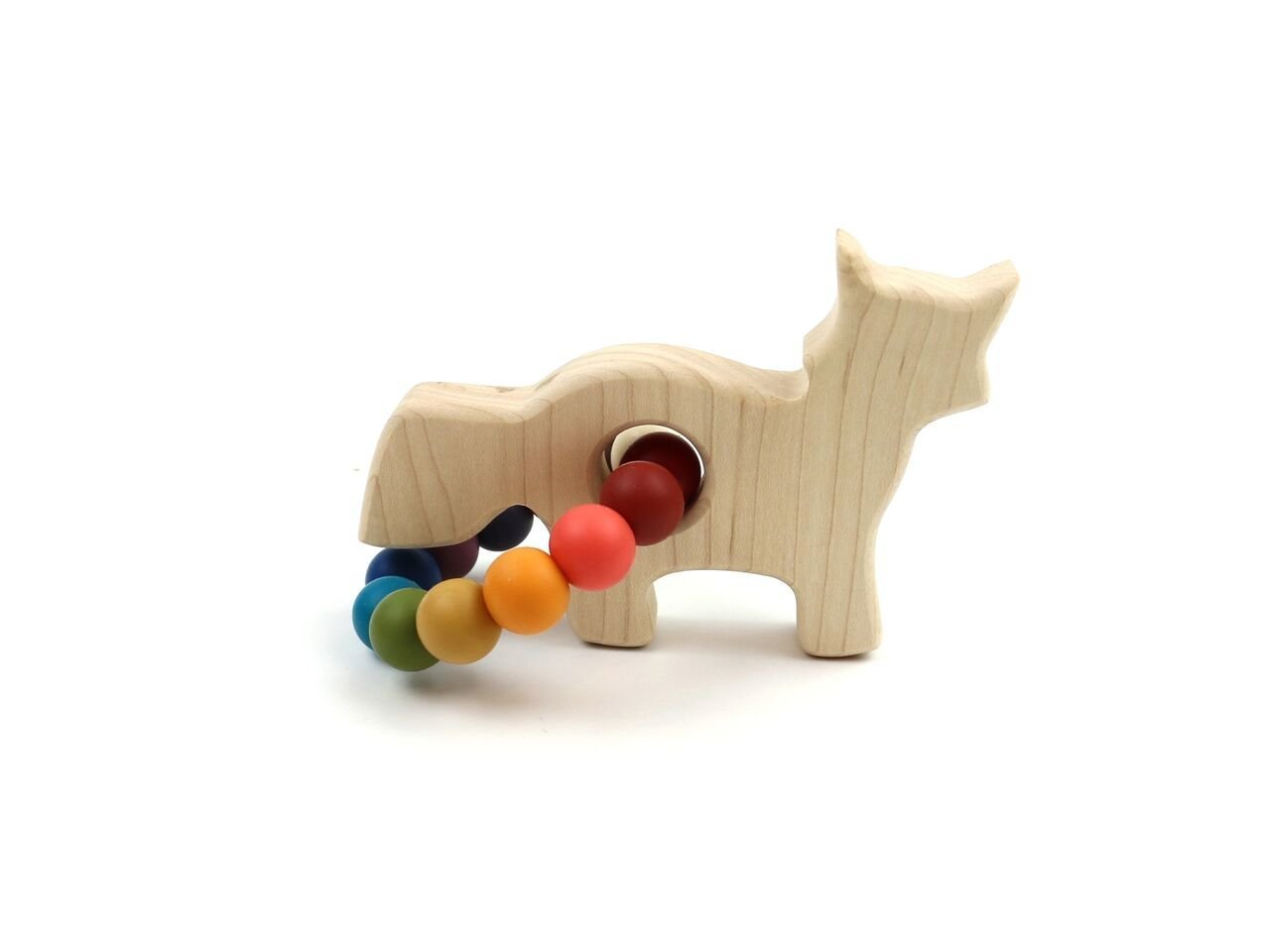 Fox Wooden Teether w/Mother Nature Beads