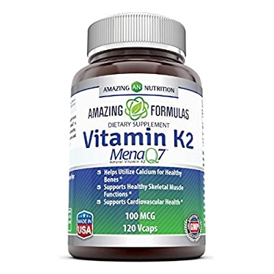 Amazing Nutrition Vitamin K2 Menaq7 100 Mcg Bone Mineralization Supplement, 120 Vcaps