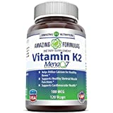 Amazing Formulas Vitamin K2 Menaq7 - 100 Mcg, 120 VCaps - Helps Utilize Calcium For Healthy Bones - Supports Healthy Skeletal Muscle Functions - Supports Cardiovascular Health – 120 Vegetarian