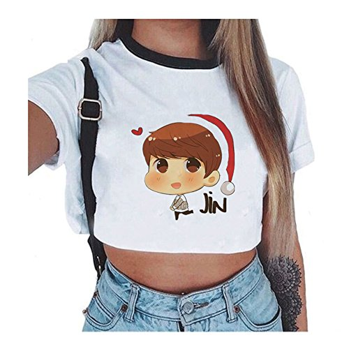 Femmes Tops Court Courtes F Shirt Kpop Sexy T Manches BTS Iw5RSqO