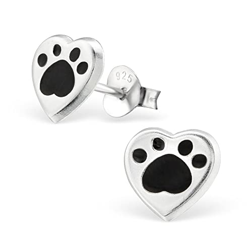 f2e3f4283 Image Unavailable. Image not available for. Color: 925 Sterling Silver  Black Paw Print Heart Stud Earrings 26293