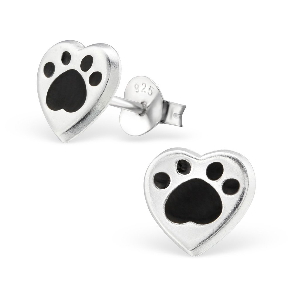 Hypoallergenic Heart Stud Earrings for Girls (Nickel Free and Safe for Sensitive Ears) - Black