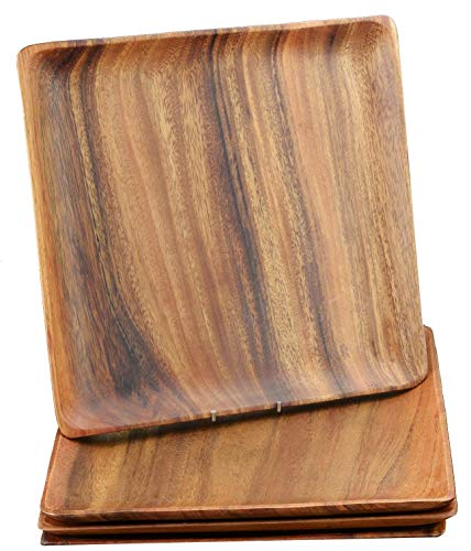 Bamboo Forest Bowl - Pacific Merchants Acaciaware 10-Inch Acacia Wood Square Serving Tray, set of 4,Brown,10 Inch, Set of 4
