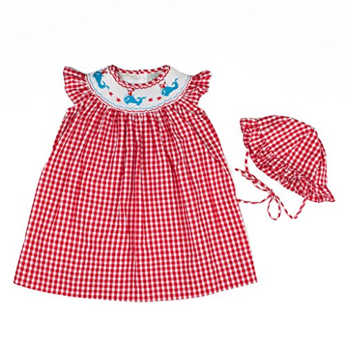 Carriage Boutique Baby Girl Spring Summer Red Bishop Dress - Hand Smocked Whales, 6M (Newborn)