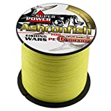 Ashconfish Braided Fishing Line-16 Strands Hollow Core Fishing Wire 300M/328Yards 150LB Abrasion Resistant Incredible Superline Zero Stretch UltraThin Diameter Woven Thread Yellow