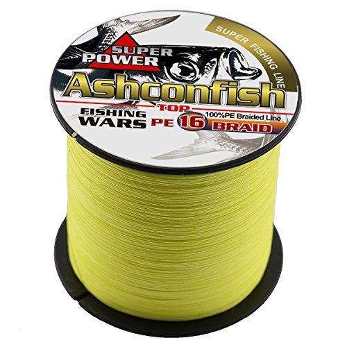 Ashconfish Braided Fishing Line-16 Strands Hollow Core Fishing Wire 1000M/1093Yards 130LB Abrasion Resistant Incredible Superline Zero Stretch UltraThin Diameter Woven Thread Yellow