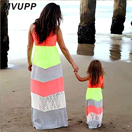 72e505ee44 MVUPP Mommy and me Dresses Family Matching Clothes Striped Mother Daughter  Baby Girl Toddler Family Look Summer Maxi Beach Dress : Colour 6, Mom S: ...