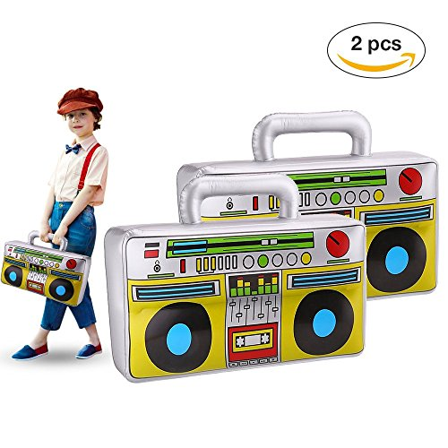 16 inch Inflatable Boom Box Toy for 80's 90's Themed Party,Adults Costume Accessories and Hip Hop Party Pack of (E Themed Costumes)