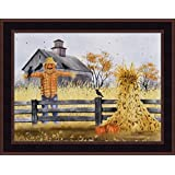 Scatterbrains by Billy Jacobs 15x19 Scarecrow Corn Shock Pumpkins Crows Barn Split Log Fence Autumn Fall Framed Print Picture