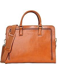 Banuce Women's Full Grain Leather Briefcase 14 inch Laptop Bag Business Tote Satchel Bag Shoulder Messenger Bag Attache Case