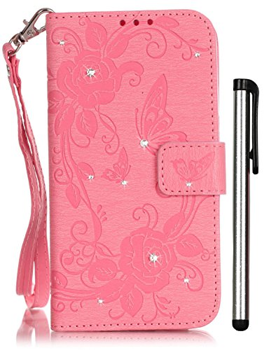 iPhone 8 Case iPhone 7 Case with Stand 4.7inch Pink Leather Magnet Wallet BookCover CellPhone Accessories Bling Crystal Stander Credit Card Holder Cash Slot WristStrap Handmade Emboss Butterfly Flower Bling Kit Crystals Cell Phone