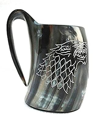 Vikings Valhalla's Game of thrones stark house viking drinking horn mug wolf carved tankard for beer wine mead ale