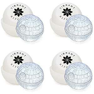 Death Star Ice Cube Mold for Star Wars Lovers by Vibrant Kitchen & Gift E-book (4 Pack)