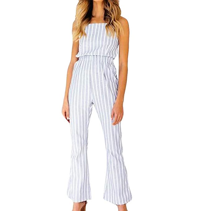 6d67e30571f ABASSKY Women Sleeveless Stripe Jumpsuits Lady Loose Playsuit Long Wide Leg  Trousers White