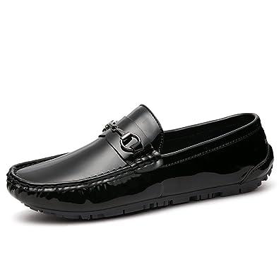DHFUD Printemps Jeunes Hommes en Cuir Souple Petites Chaussures Casual Hommes Chaussures,Black-37
