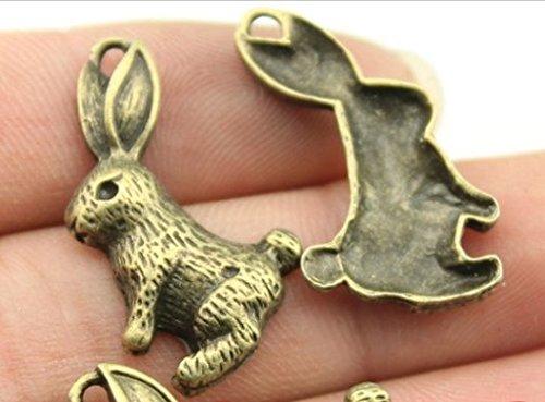 7 rabbit Charms antique brass bronze rabbit charms 26x16mm - Antique Rabbit