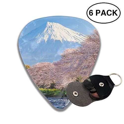 (Celluloid Guitar Picks 3D Printed Sakura Snow Mountain Best Guitar Bass Gift For gril)