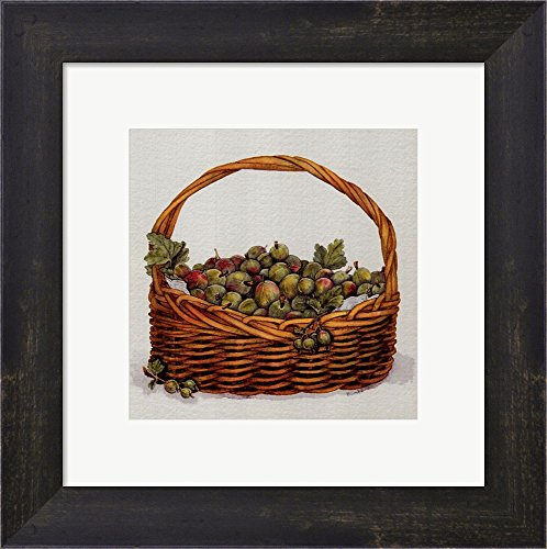Basket of Gooseberries by Bambi Papais Framed Art Print Wall Picture, Espresso Brown Frame, 11 x 11 inches (Bambi Papais Basket)