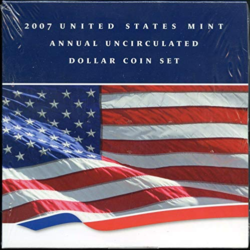 2007 U.S. Mint Annual Uncirculated Dollar 6-Coin Set w/Burnished Silver Eagle $1 Brilliant Uncirculated OGP ()