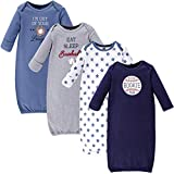 Hudson Baby Unisex Cotton Gowns, Baseball, 0-6 Months