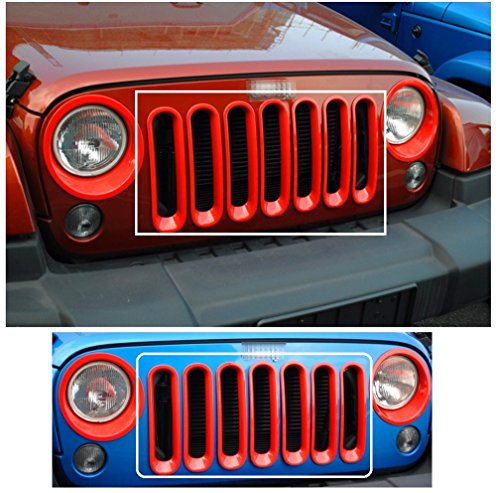 - Nicebee 7pcs Red Headlight Trim Front Honeycomb Punch Round Grille Grill Mesh Insert Cover Trim Set For 2007-2016 Jeep Wrangler JK