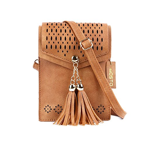 Women-Small-Crossbody-Bag-seOSTO-Double-Compartment-Tassel-Cell-Phone-Purse-Wallet-Bags