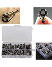 80 Pcs Fishing Rod Pole Guide Tip Top Ring Eye Repair Kit 10 Sizes Steel Rod Guide