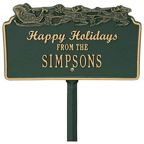 (K&A Company Happy Holidays Lawn Plaque - Sleigh, 13.5