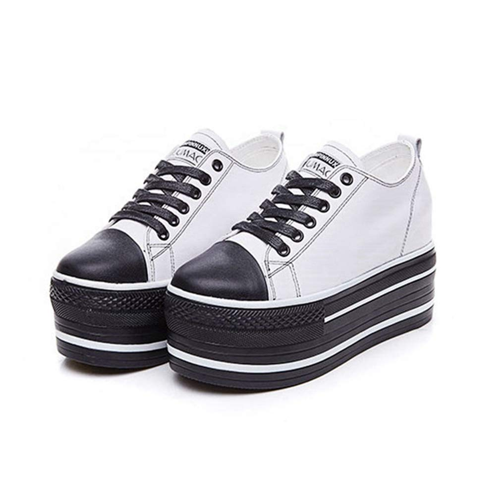White T-JULY Women Genuine Leather Casual shoes Platform Height Increasing Lace Up Super High Heel Wedge shoes